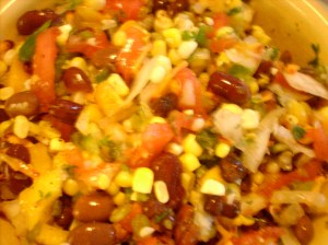 Corn-Bean-Peach Salad